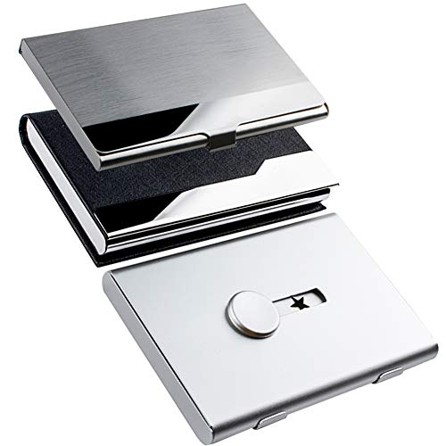KISSWILL 3 Pack Business Card Holder Case, Thumb-Drive Business Card Case and Leather Business Card Holder with Magnetic Shut and Metal Name Card Case for Men and Women