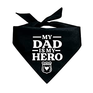 Tees & Tails My Dad is My Police Hero Triangle Dog Bandana (Assorted Colors)