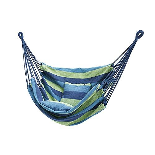 AERVEAL con almohada colgante de cuerda hamaca para colgar cuerda hamaca hamaca para acampar jardín asiento al aire libre porche camping hamacas - blanco y verde