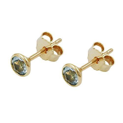 Stecker Ohrstecker Goldohrstecker mit Aquamarin 333 Gold Gelbgold für Damen