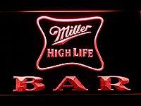 Miller High Life Bar LED看板 ネオンサイン ライト 電飾 広告用標識 W40cm x H30cm レッド