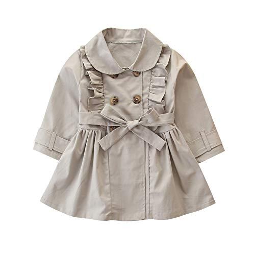 Miyanuby Abrigo de Bebé Niñas Recién Nacida Peter Pan Collar Vestidos Vintage Saco Chaqueta Ropa con Cinturón