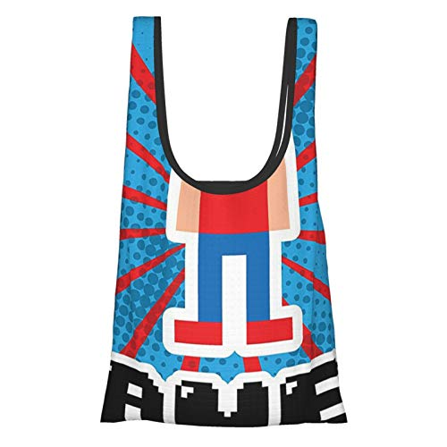 Video Games Blue And Red Stripes Boom Beams Retro 90s Style Toys Boy With Cap Gamepad Red Blue White Black Reusable Grocery Bags, Eco-Friendly Shopping Bag