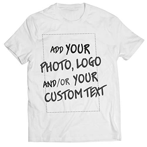 lepni.me Camisetas Hombre Regalo Personalizado, Agregar Logotipo de la Compañía, Diseño Propio o Foto (Small Blanco Multicolor)