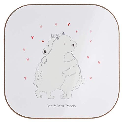 Mr. & Mrs. Panda feest, geschenken, Vierkante onderzetters Ijsbeer knuffelen - Kleur Wit