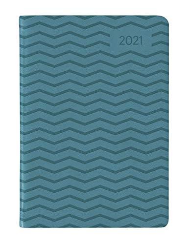 Ladytimer Mini Deluxe Turquoise 2021 - Taschen-Kalender 8x11,5 cm - Tucson Einband - Motivprägung Wellen - Weekly - 144 Seiten - Alpha Edition