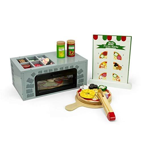 AMLeg Disvaltoys Pizzería de Juguete en Madera - Incluye: Horno, Pizza, Ingredientes, Accesorios, - Juguete de Madera + 3 años
