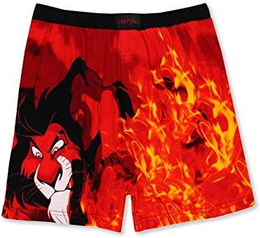 Disney The Lion King Scar Hyenas Mens Briefly Stated Boxer Lounge Shorts Large Black Red product image