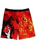 Disney The Lion King Scar Hyenas Mens Briefly Stated Boxer Lounge Shorts (Medium, Black/Red)