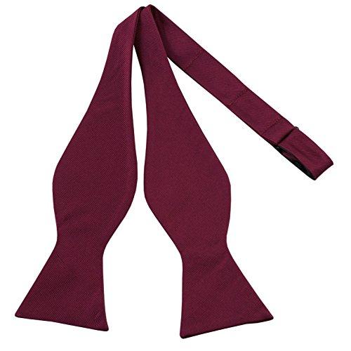 100% Silk Bowtie Burgundy Bow Ties For Men Self Tie Mens Bow Tie by John William