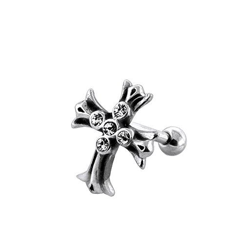 Curve Tribal Celtic Cross with Gemstone Surgical Steel Tragus Piercings Helix Piercing - Sold by Piece