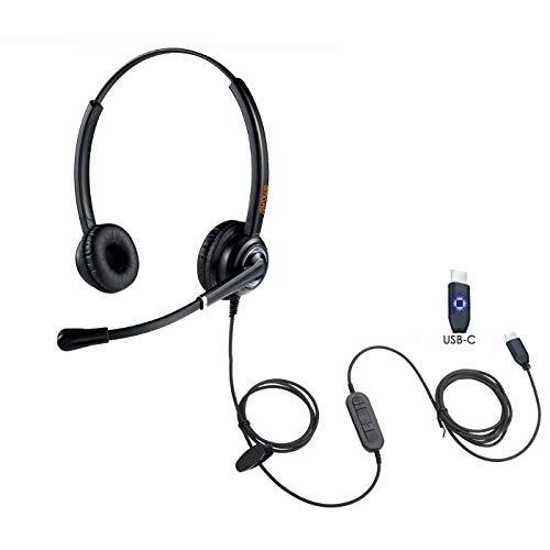 USB-C-Kopfhörer, Stereo, Over-Ear, USB-Typ-C-Headset mit Geräuschunterdrückung, Mikrofon für PC, Laptop, Lablet, Handy, Skype Teams, Zoom Chat, Google Pixel 2/XL, Pad, Huawei, Samsung, iPhone und mehr