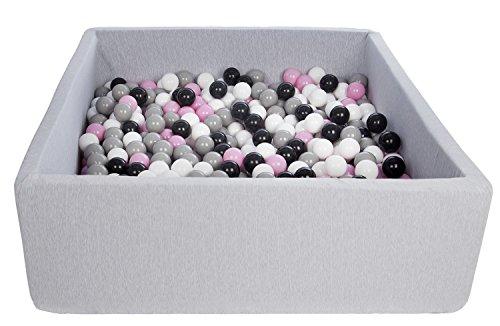 Velinda Bällebad Ballpool Kugelbad Bällchenbad Kinder-Pool mit 600 Bällen/120x120cm (Farbe der Bälle: schwarz,weiß,rosa,grau)