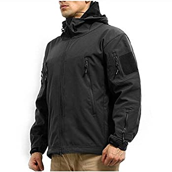 ArmyCamoUSA Men s Army Outdoor Military Special Ops Softshell Tactical Hooded Jacket Hunting Jacket,Black,US M   Tag L