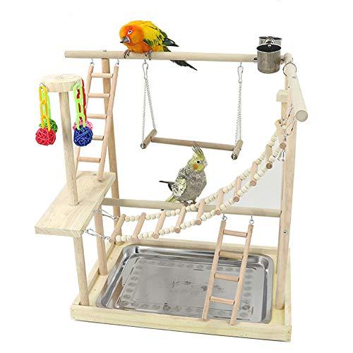 PETAMANIM Papageien-Spielständer, Papagei Spielplatz Spielplatz aus Holz, mit Futterstation und Bechern, Spielzeug, Trainingsspiel (inklusive Tablett)