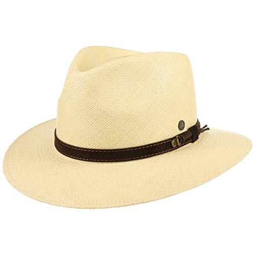 Lierys The Striking Traveller Panamahut Herren - Hut aus 100% Panamastroh - Handmade in Ecuador - Herrenhut S-XXL - Strohhut mit Ledergarnitur Natur S (55-56 cm)