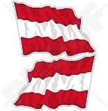 Österreich Österreichische Waving Flag 119,4cm (120mm) Bumper Sticker, Aufkleber Vinyl X2