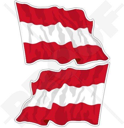 Österreich Österreichische Waving Flag 7,6cm (75mm) Bumper Sticker, Aufkleber Vinyl X2