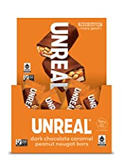 UNREAL is on a mission to build a world where you don't have to be afraid of your food, starting with your favorite indulgent snacks. Individually wrapped: this caddy contains 30 individually wrapped dark chocolate Caramel Peanut nougat bars. All-nat...