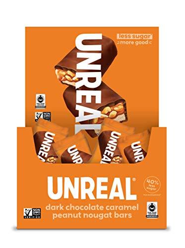 UNREAL Dark Chocolate Caramel Peanut Nougat Bars | Non-GMO, Less Sugar, Fair Trade | 30 Count