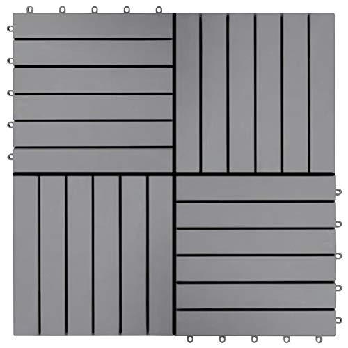 BIGTO Decking Tiles 20 pcs Grey Wash 30x30 cm Solid Acacia Wood,Height: 2,4 cm