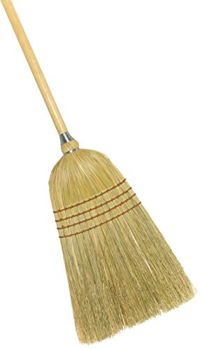 "Weiler 44009 56"" Length, 7/8"" Diameter Wooden Handle , 5 Sews, 100% Corn Fill, Heavy-Duty Upright Warehouse Broom, Natural"