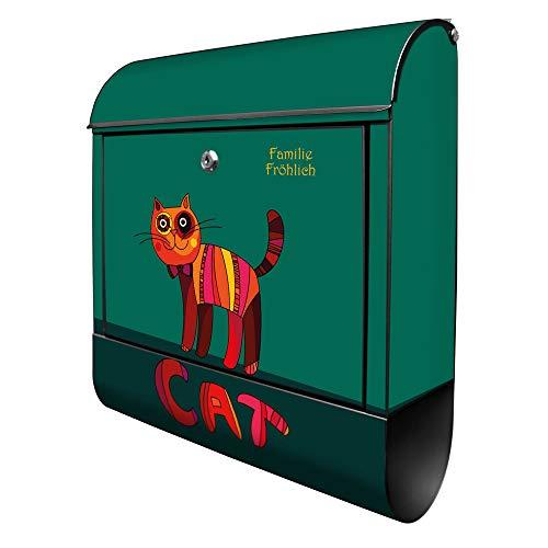 Banjado Design Briefkasten personalisiert mit Motiv Orange Katze | Stahl pulverbeschichtet mit Zeitungsrolle | Größe 39x47x14cm, 2 Schlüssel, A4 Einwurf, inkl. Montagematerial