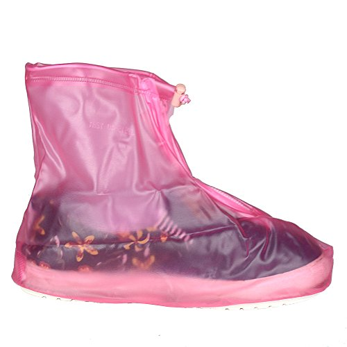Sur-bottes réutilisables étanches avec semelle épaisse antidérapante fermeture éclair pour femme fille L: UK 5-6 rose