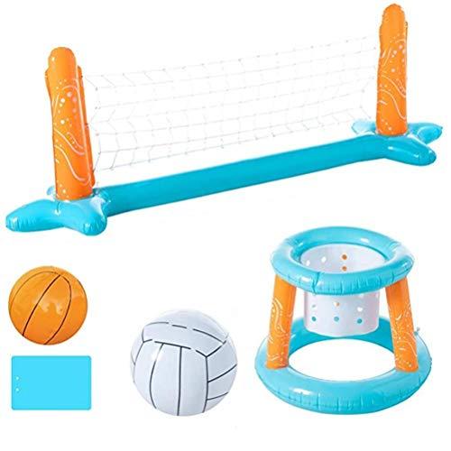 Watervolleybal set, opblaasbaar waterpolospel met waterpolo net 290 * 95 cm en drijvende hoepels 73 * 57 cm, zwembad basketbal volleybal spel voor kinderen en volwassenen