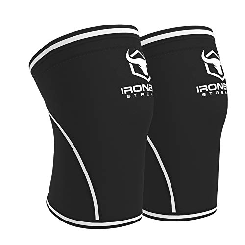 Knee Sleeves 7mm (1 Pair) - High Performance Knee Sleeve Support For Weight Lifting, Cross Training & Powerlifting - Best Knee Wraps & Straps Compression - For Men and Women (Black/White, Small)