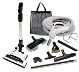 Alder Products Galaxy Deluxe Central Vacuum Kit with Hose, Power Head & Wands - Works with All Brands of Central Vacuum Units (30', Black)