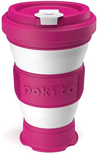 Trinkbecher für Kaffee und andere Getränke von Pokito - Faltbarer Becher/Kaffeebecher to go mit Deckel für unterwegs, Auto, Outdoor, Camping - Robust, wiederverwendbar, Auslaufsicher - Pink