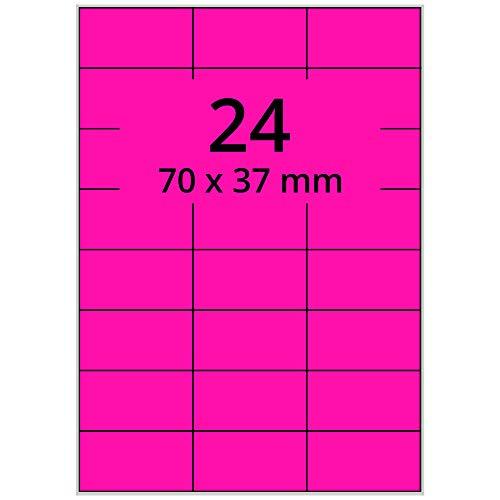 Labelident farbige Etiketten DIN A4 leuchtpink - 70 x 37 mm - 2400 Papier Farbetiketten auf 100 Blatt, Laser Etiketten farbig selbstklebend, bedruckbar