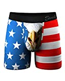 Shinesty Underwear for Men, Supportive Ball Hammock Mens Boxer Briefs, American Eagle Mens Underwear with Pouch for Balls, Super Soft, Breathable and Moisture Wicking, 1 Pack Large Red