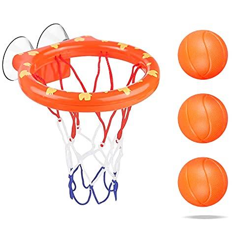 LOVEXIU Giocattoli da Bagno,Giochi per Il Bagnetto,Giocattoli da Bagno per Bambini,Canestro da Basket da Bagno,Giocattoli da Piscina Set,Fun Bath Basketball Hoop con Ventosa(1 Canestro+3 Palline)