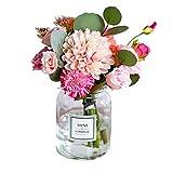 Flores Artificiales y florero Ramos de Rosas Color Mezclado En hogar y la Cocina Bouquet Decoración (Color : B)