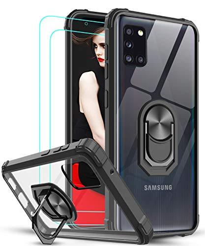 LeYi für Samsung Galaxy A31 Hülle mit Panzerglas Schutzfolie(2 Stück), Ringhalter Schutzhülle Crystal Clear Acryl Cover Air Cushion Bumper Handy Hüllen für Hülle Samsung Galaxy A31 Handyhülle Schwarz