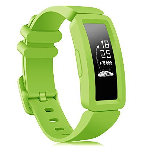 Onedream Kompatibel für Fitbit Ace 2 Armband Kids, Klassische Sport Band Silikon Ersatzzubehör Armbänder Kompatibel für Fitbit Ace 2 & Inspire HR Kinder (1-Lime)