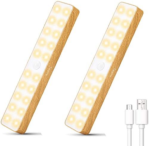 Iluminación LED para gabinete con detector de movimiento, luz nocturna Taipow 20 LED, lámpara de noche USB recargable para gabinete, adecuada para escaleras de garaje, dormitorios, pasillos, 2 piezas
