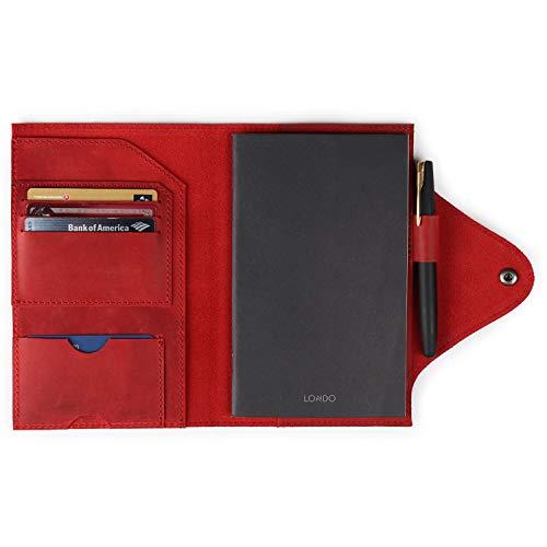 Londo Cartera de cuero genuino con bloc de notas y cierre a presión (rojo, mediano), OTTO417