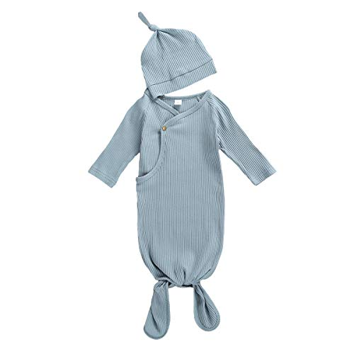 Newborn Baby Girl Boy Knitted Sleepwear Buttons Down Gowns with Hat Sleepy Romper Sleeping Bags (Blue Gray, 0-3 Months)