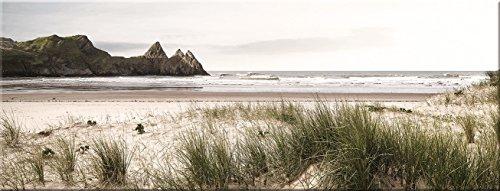 artissimo, Glasbild, 80x30cm, AG1936A, Beach Impression, Strand und Meer, Bild aus Glas, Moderne Wanddekoration aus Glas, Wandbild Wohnzimmer modern