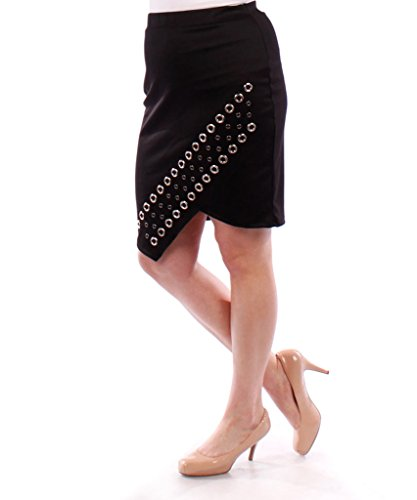 Stylzoo Plus Size Studded Pencil Skirt Black 1X