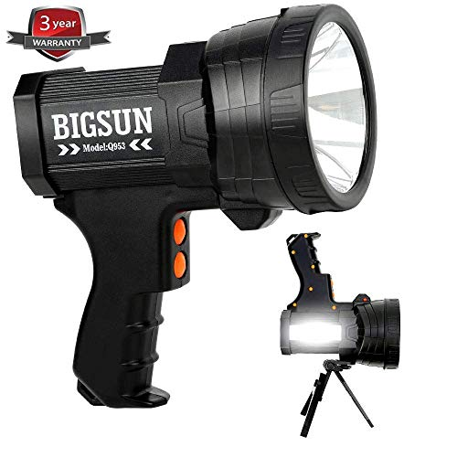 BIGSUN Q953 10000mAh Rechargeable Spotlight 6000 Lumen LED Flashlight, Foldable Tripod and Strap, Wall and Car Charger Attachments