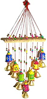 Mausam Arts Handmade Rajasthani Wooden Multicolor Bells wall hanging Home Decor - for Garden decor, Living Room, Bedroom, ...