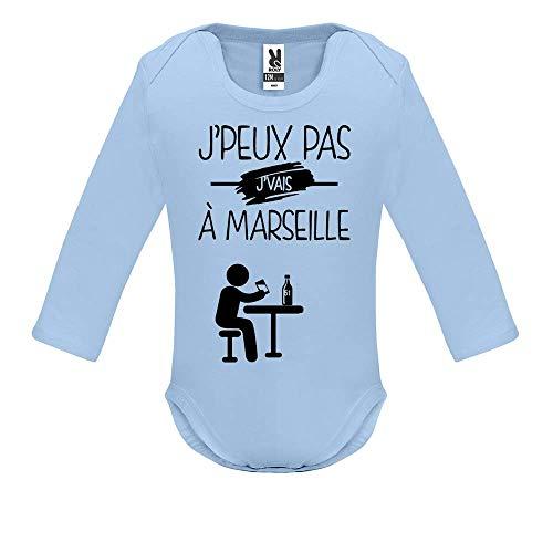 LookMyKase Body bébé - Manche Longue - J Peux Pas j Vais a Marseille - Bébé Garçon - Bleu - 3MOIS