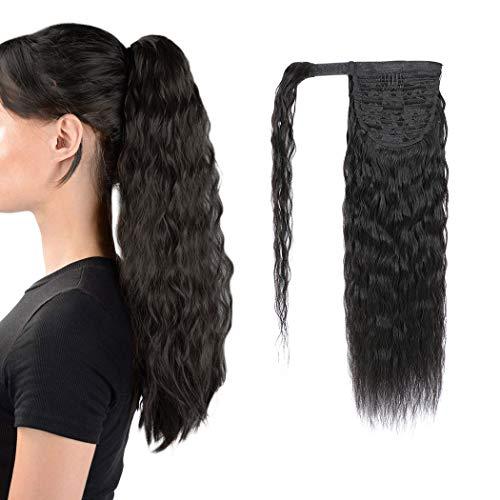 Ponytail Human Hair Extension Corn Wave Magic Paste Wavy Wrap Around Ponytail Extension Natural Black Straight wave 20 Inch 125g