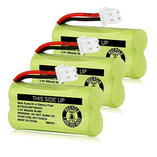 iMah BT183342/BT283342 2.4V 400mAh Ni-MH Battery Pack, Also Compatible with AT&T VTech Cordless Phone Batteries BT166342/BT266342 BT162342/BT262342 2SN-AAA40H-S-X2, Pack of 3