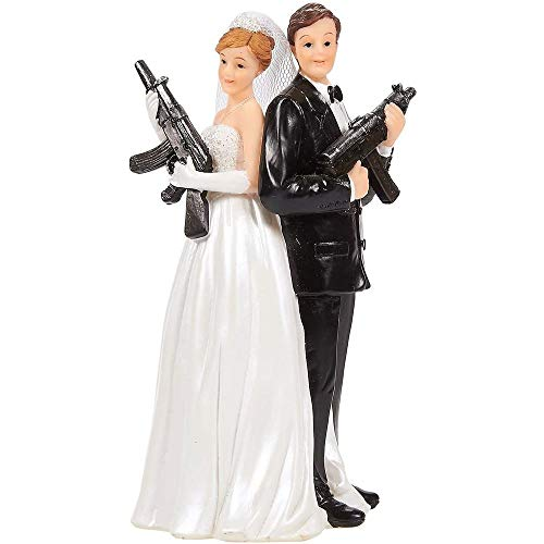 Juvale Decoración para tartas de boda, divertidas figuras de boda, regalo (figuras de novio con rifles)