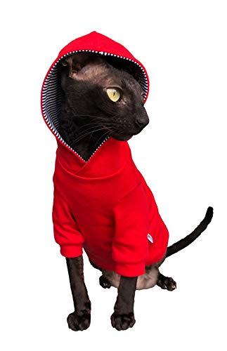 Kotomoda Katzen Kapuzenpullover in Rot (XS)